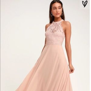 DANCE ALL EVENING BLUSH PINK LACE MAXI DRESS